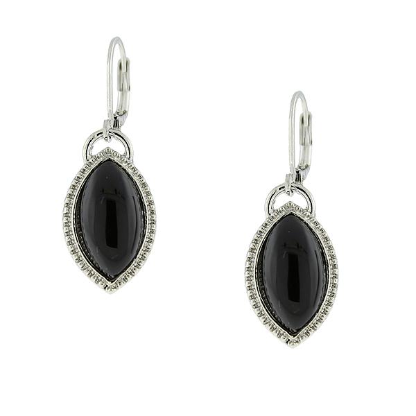 2028 Gramercy Silver-Tone Black Navette Drop Earrings