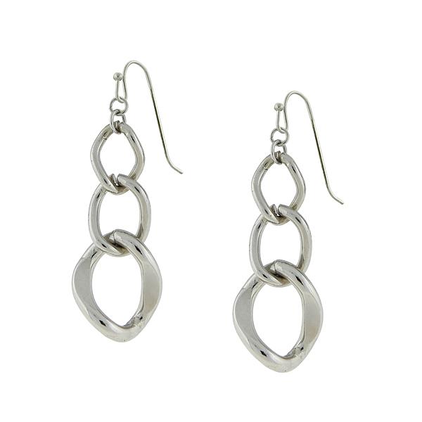 2028 Nevada Silver-Tone Link Drop Earrings