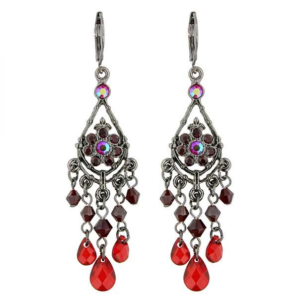 Vintage Red Chandelier Earrings