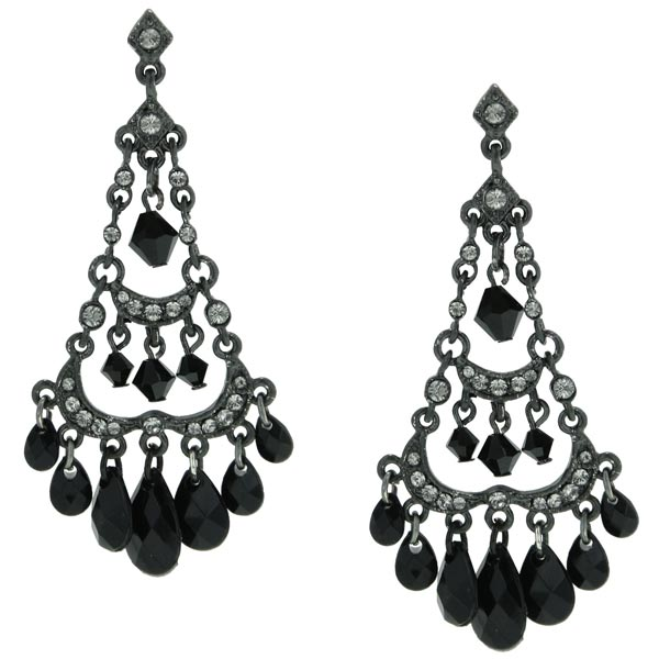 2028 Jet Black Elegant Chandelier Earrings