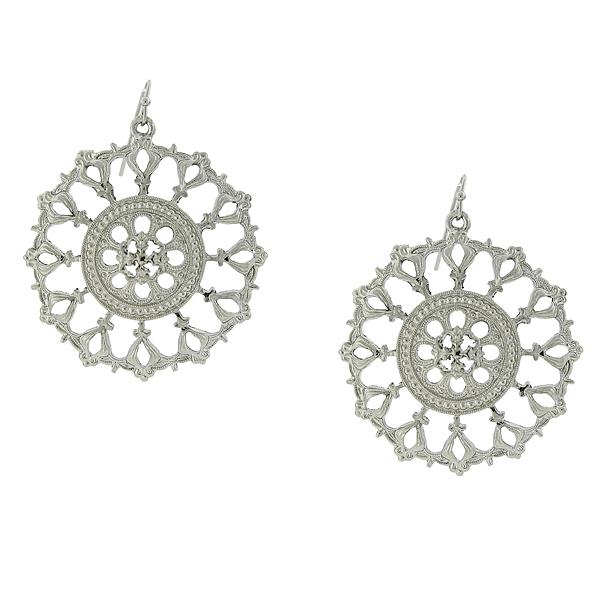2028 Silver-Tone Round Filigree Drop Earrings