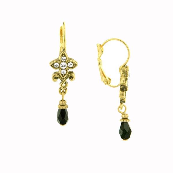 Antiquities Couture Swarovski Crystal Petite Black Drop Earrings