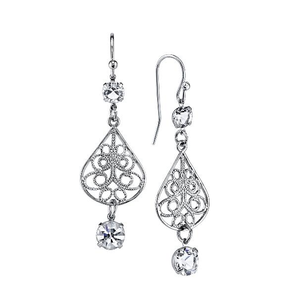 Signature Silver-Tone Genuine Swarovski Crystal Fiiligree Teardrop Earrings