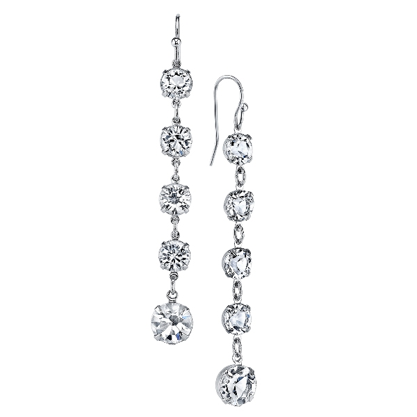 Signature Silver-Tone Genuine Swarovski Crystal Linear Drop Earrings