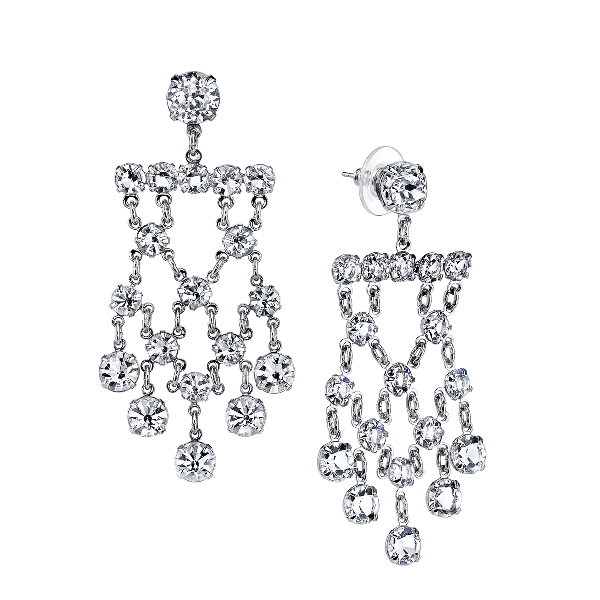 Signature Silver-Tone Genuine Swarovski Crystal Chandelier Earrings