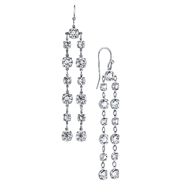 Signature Silver-Tone Genuine Swarovski Crystal Double Linear Earrings