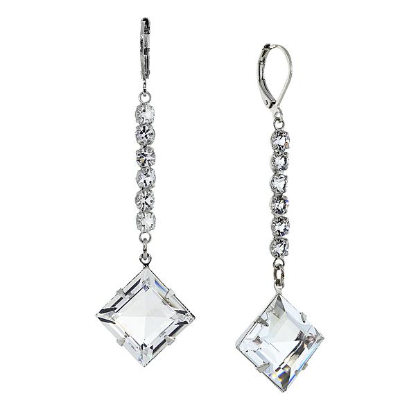 Signature Silver-Tone Genuine Swarovski Crystal Diamond-Shaped Drop Earrings