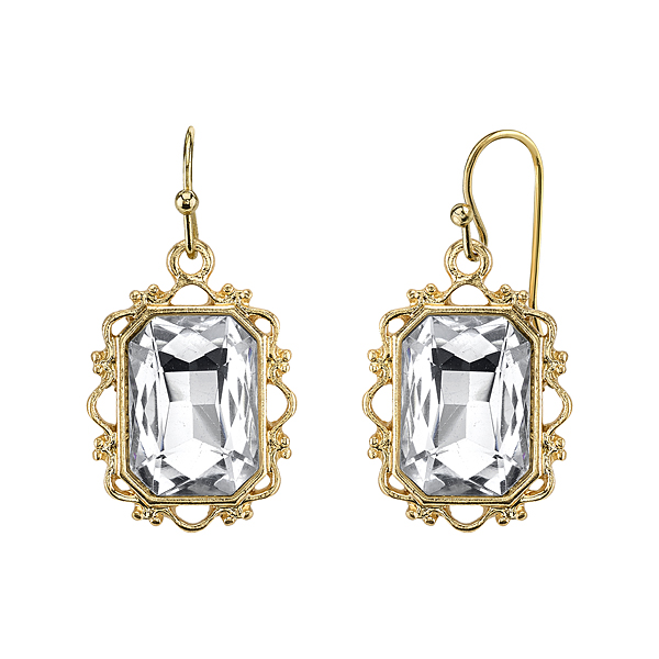Crystal Glace Gold-Tone Crystal Rectangle Faceted Drop Earrings