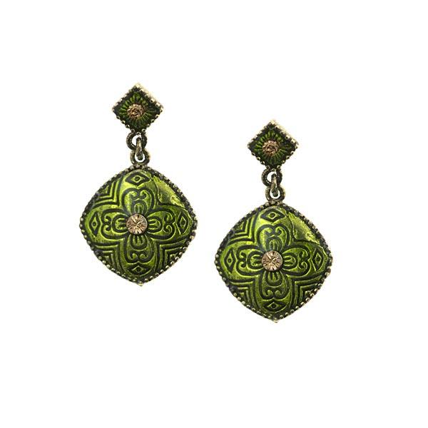 Brass-Tone Green Enamel Drop Earrings