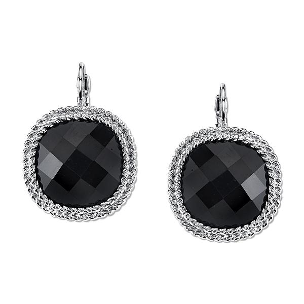 2028 Metro Jet Silver-Tone Black Large Faceted Stone Drop Earrings