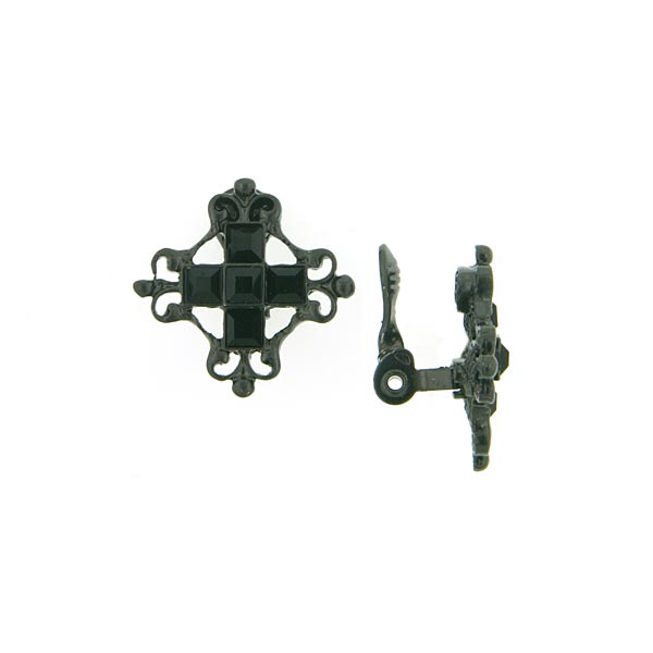 Antiquities Couture Victorian Black Clip On Cross Earrings