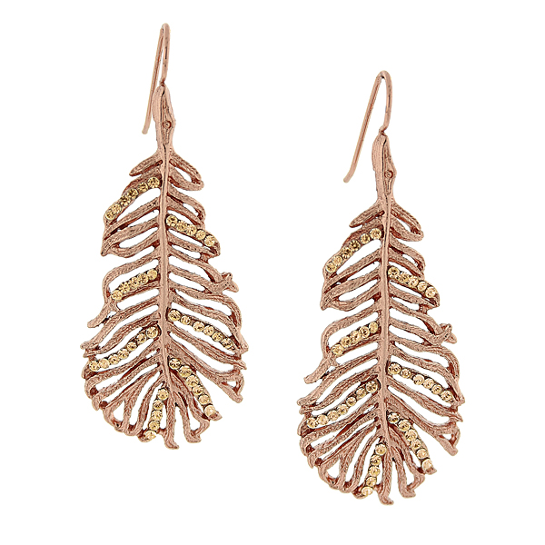 2028 Filigree Sparkle Copper-Tone Smoke Topaz Crystal Leaf Drop Earrings