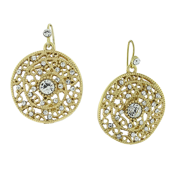 2028 Filigree Sparkle Gold-Tone Crystal Round Filigree Drop Earrings