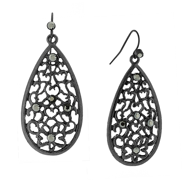 2028 Filigree Sparkle Black-Tone Grey Crystal Filigree Pear-Shaped Drop Earrings