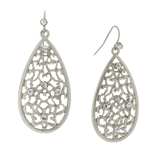 2028 Filigree Sparkle Silver-Tone Crystal Filigree Pear-Shaped Drop Earrings