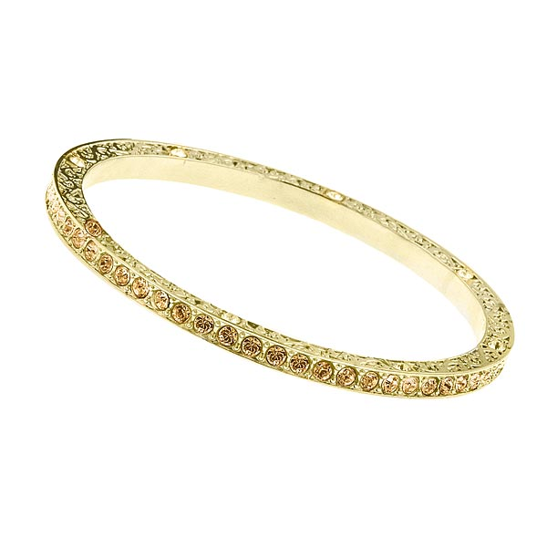Gold-Tone Light Topaz Crystal Bangle Bracelet