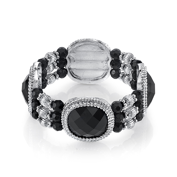 2028 Metro Jet Silver-Tone Black Faceted Beaded Stretch Bracelet