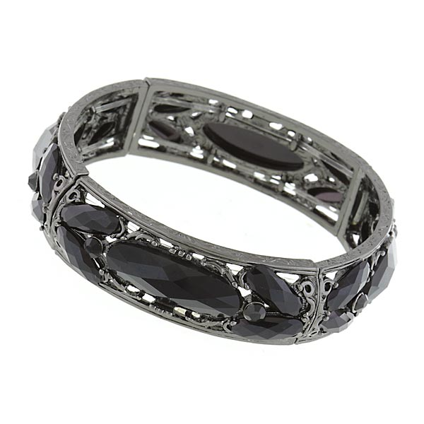 Signature Jet-Tone Black Filigree Stretch Bangle Bracelet