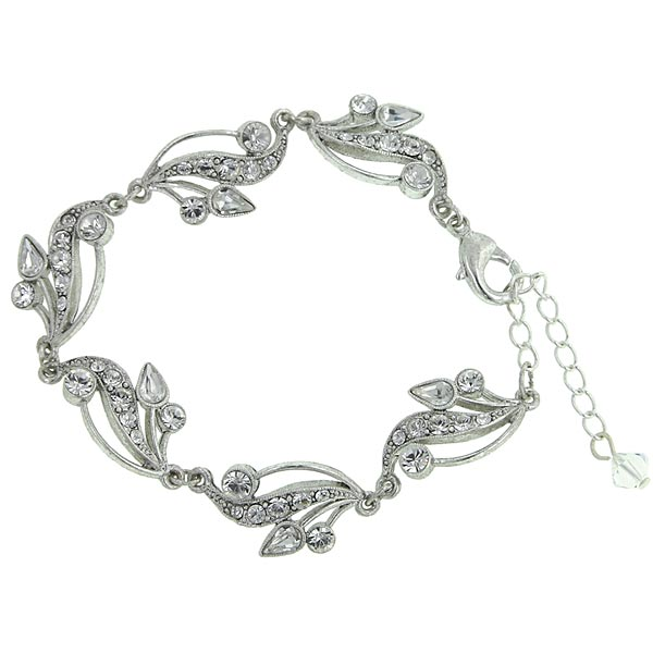 Antiquities Couture Silver-Tone Crystal Filigree Bracelet