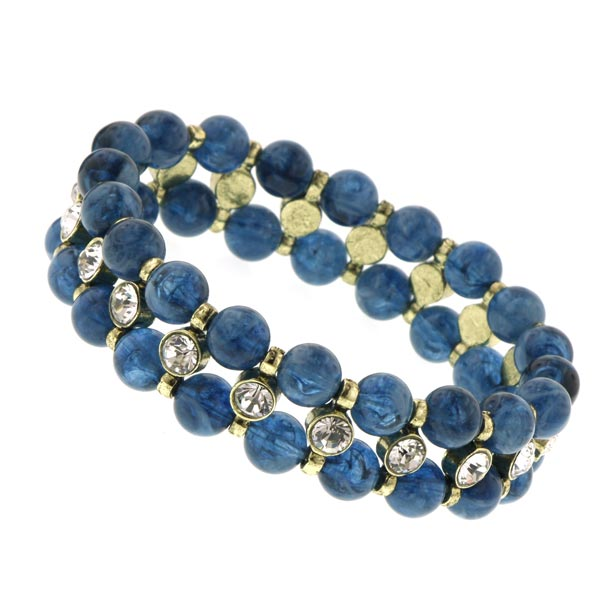 Chérie Pearly Blue Beaded Crystal Bracelet