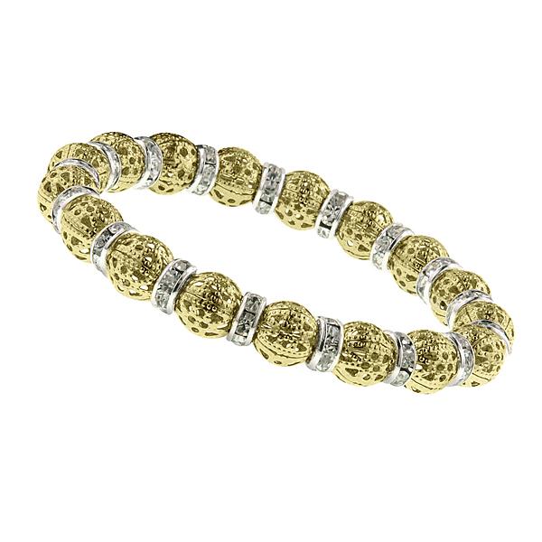 Gold-Tone Crystal Filigree Bead Stretch Bracelet