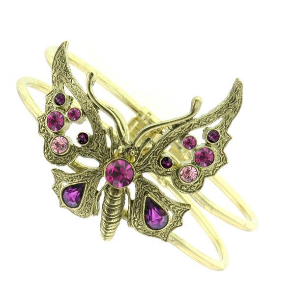 Thalia Fuchsia Crystal Butterfly Cuff Bracelet