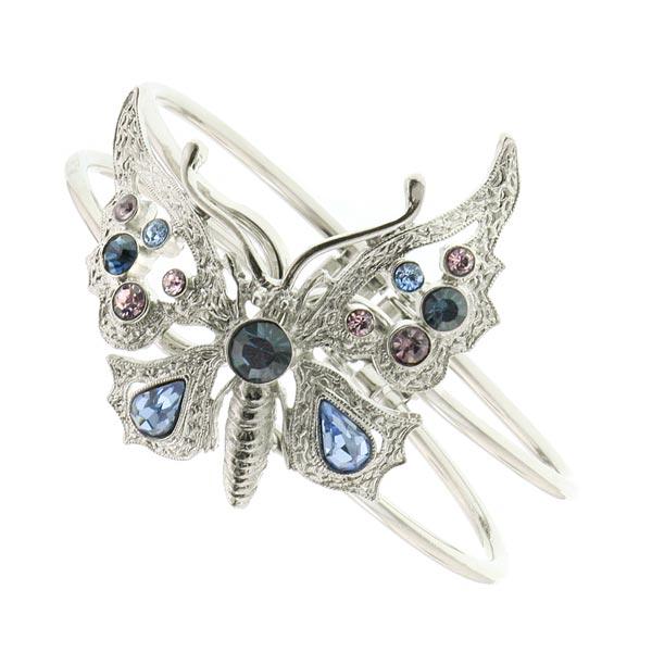Thalia Blue Crystal Butterfly Cuff Bracelet