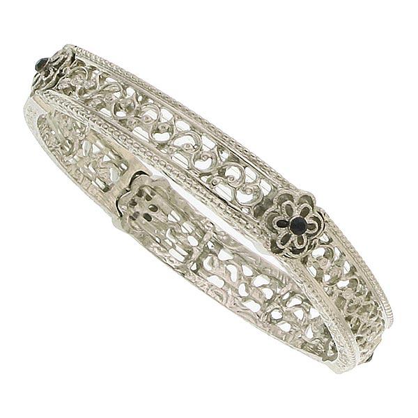 Daisy Filigree Silver-Tone Stretch Bracelet