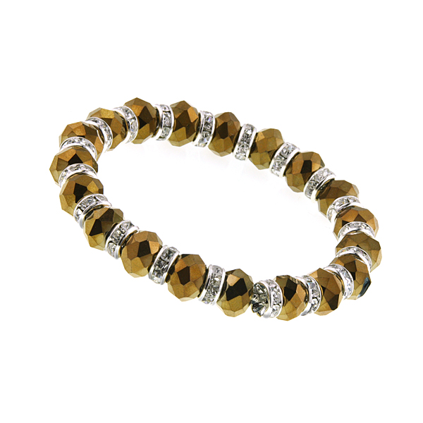 Silver-Tone Bronze Lux-Cut Bead Stretch Bracelet