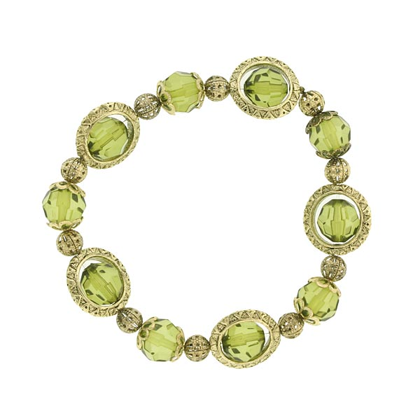Rotating Chartreuse Green Beaded Bracelet