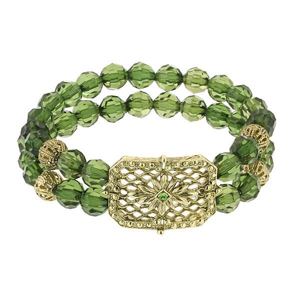 Honeycomb Forest Green Beaded Bracelet