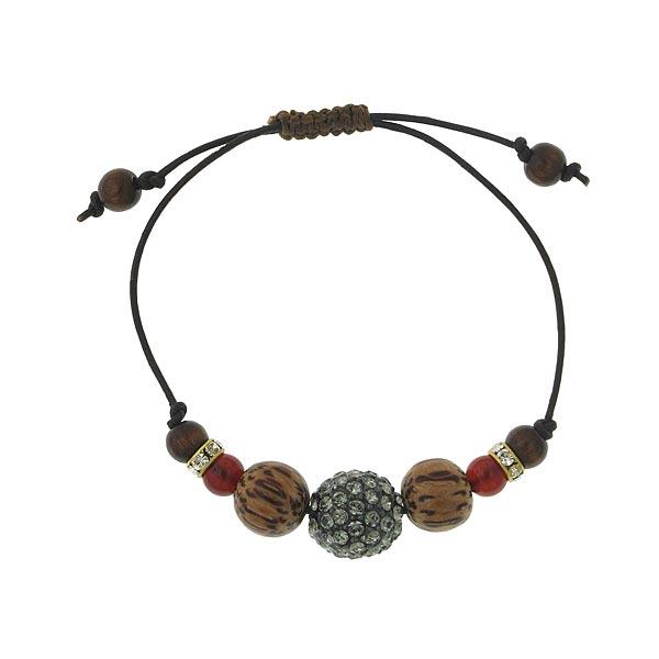 T.R.U. Swarovski Fireball Leather Beaded Bracelet