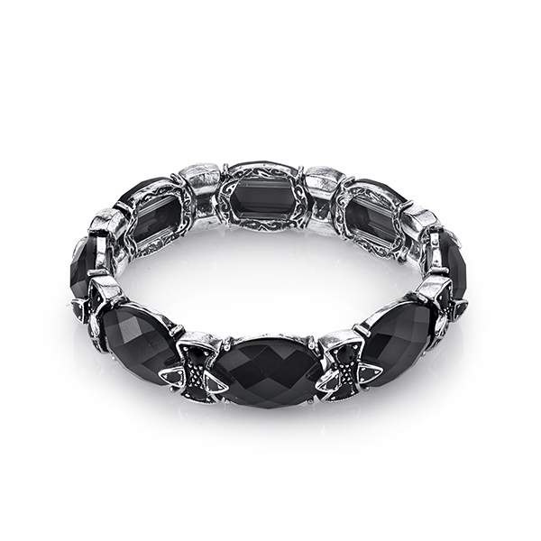 2028 Metro Jet Silver-Tone Black Faceted Oval Stretch Bracelet