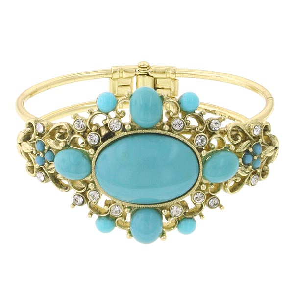 Gold-Tone Imitation Turquoise and Crystal Cuff Bracelet