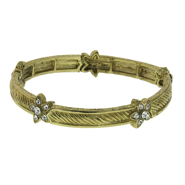 2028 Gold-Tone Crystal Flower Stretch Bangle Bracelet