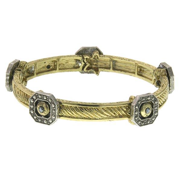 2028 Two-Tone Stretch Bangle Bracelet