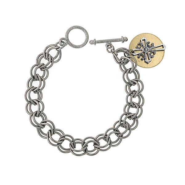 Silver -Tone Cross Custom Engraved Charm Bracelet