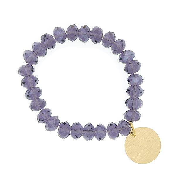 Tanzanite Purple Shimmer Beaded Engravable Charm Bracelet