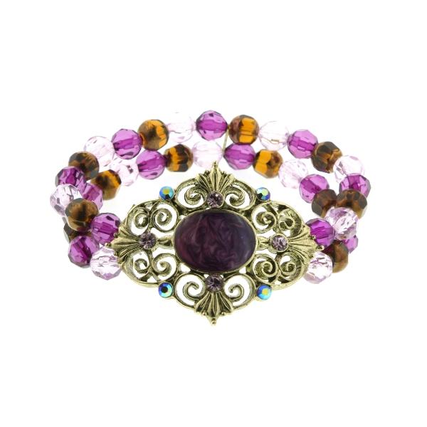 Gold-Tone Filigree Amethyst Purple Beaded Stretch Bracelet
