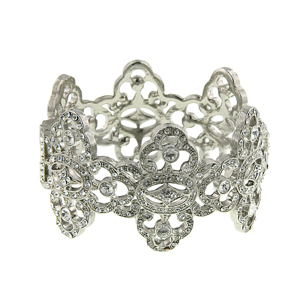 Antiquities Couture Silver-Tone Crystal Pave Cuff Bracelet