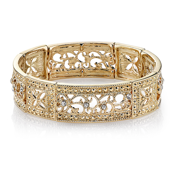 Vintage Lace Gold-Tone Crystal Square Filigree Stretch Bracelet
