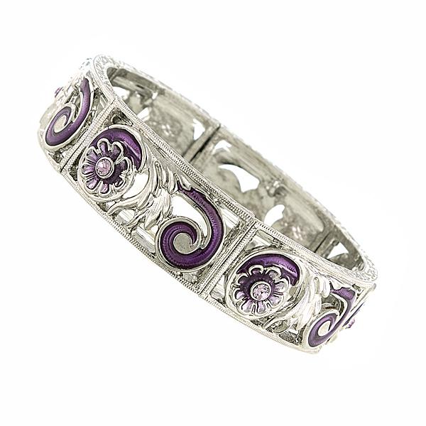 Silver-Tone Filigree Amethyst Purple Enamel Bracelet