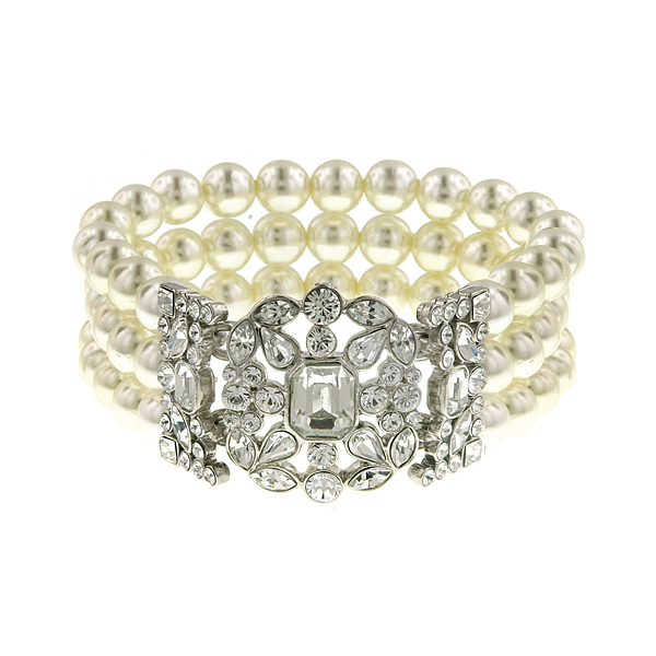 Antiquities Couture Silver-Tone Crystal and Faux Pearl Art Deco Bracelet