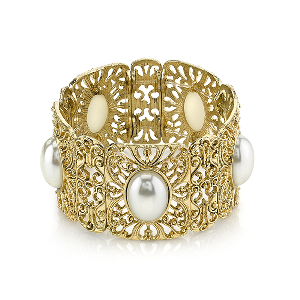 Gold-Tone Simulated Pearl Stretch Cuff