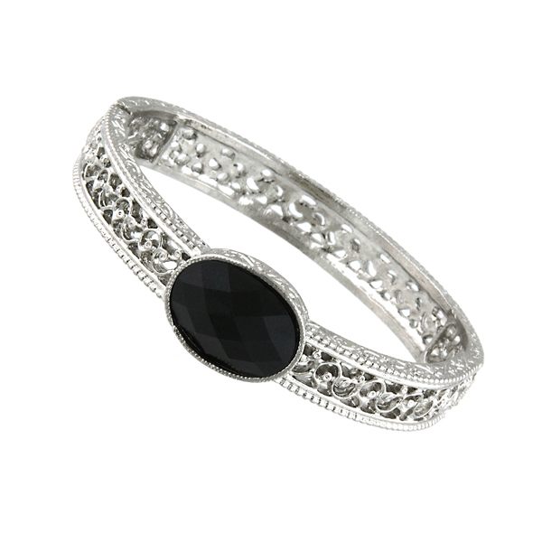 Jet Black Silver -Tone Filigree Stretch Bangle