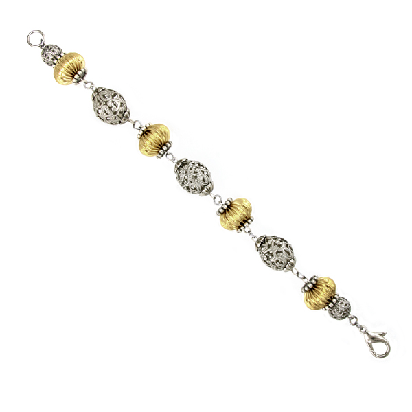 2028 Two-Tone Filigree Beaded Bracelet