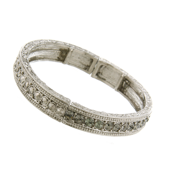 Signature Silver-Tone Black Diamond Crystal Stretch Bangle Bracelet