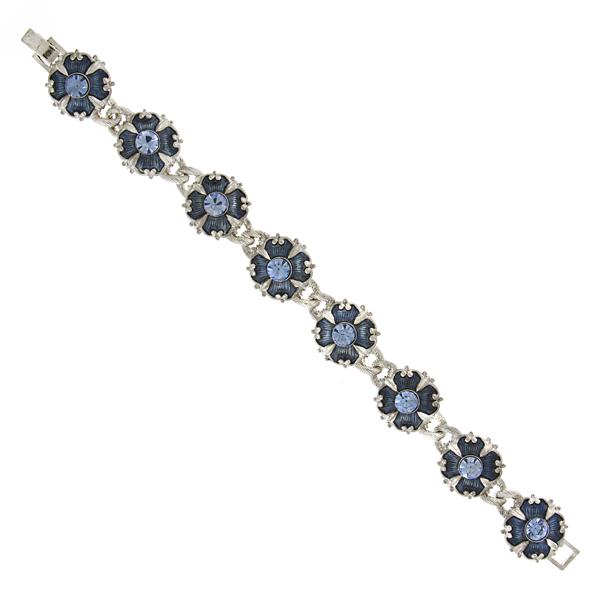 Signature Silver-Tone Sapphire Blue Enamel Clasp Bracelet