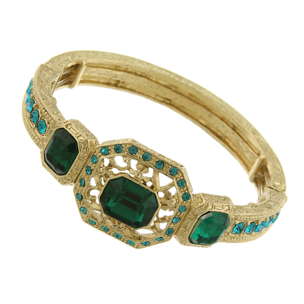 Signature Gold-Tone Emerald Green Crystal Jeweled Stretch Bracelet