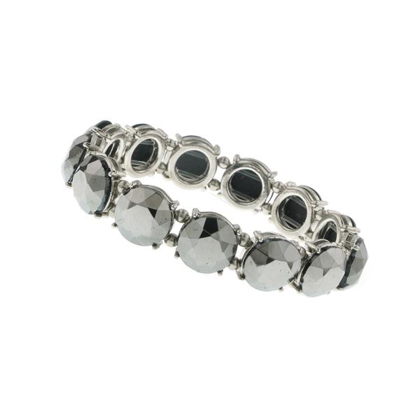 Signature Silver-Tone Hematite Beaded Stretch Bracelet